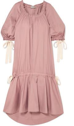 Lee Mathews - Elsie Channel Gathered Cotton-blend Poplin Midi Dress - Blush