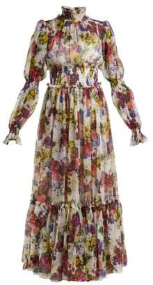 Dolce & Gabbana Primrose Print Silk Chiffon Maxi Dress - Womens - White Multi