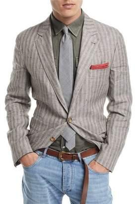 Brunello Cucinelli Melange Striped Linen Sport Jacket