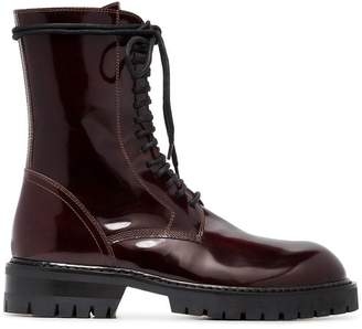 Ann Demeulemeester burgundy 50 lace-up leather boots