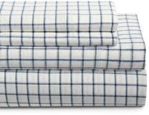 GLUCKSTEINHOME Flannel Windowpane Cotton Sheet Set