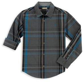 Calvin Klein Jeans Boy's Heathered Plaid Collared Shirt