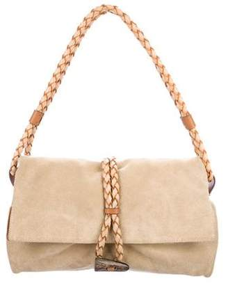 Burberry Haymarket Check-Accented Suede Flap Bag