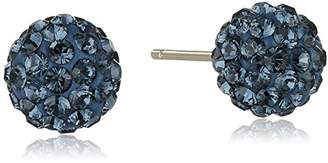 Swarovski 14k Yellow Gold Montana Blue Elements Crystal Button Stud Earrings