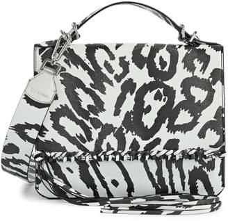 Calvin Klein Printed Leather Fringe Satchel