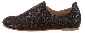 Pedro Garcia Glitter Round-Toe Loafers