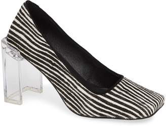 Jeffrey Campbell Graff Clear Heel Genuine Calf Hair Pump