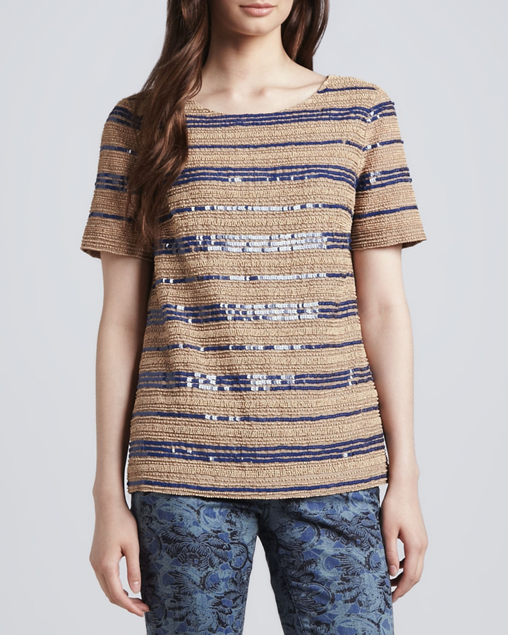 Tory Burch Theresa Sequin-Stripe Top