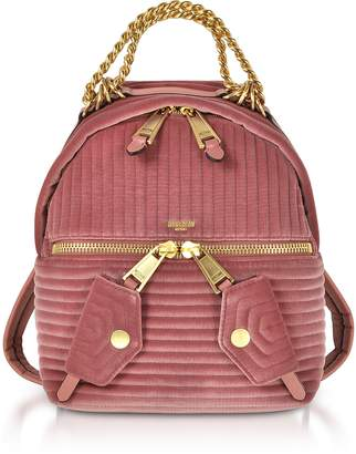 Moschino Pink Quilted Velvet Backpack