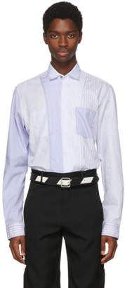 Lanvin Blue Stripe Casual Fitted Patch Shirt