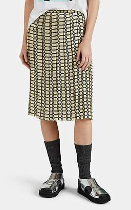 PLAN C Women's Pleated Chain-Print Silk Skirt - Yellow