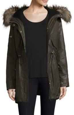 SAM. Long Hudson Military Raccoon Fur Coat
