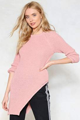 Nasty Gal Don't Uneven Think About Knit Asymmetric Sweater