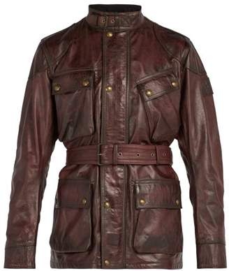 Belstaff Panther Asymmetric Pocket Leather Jacket - Mens - Burgundy