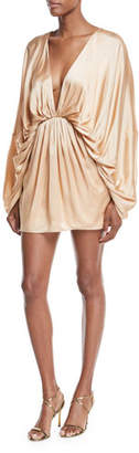 Fame & Partners Charmian Satin Plunging Mini Dress
