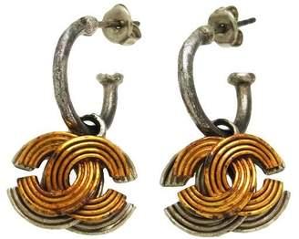 Chanel CC Logo Two Tone Stud Earrings Dangle