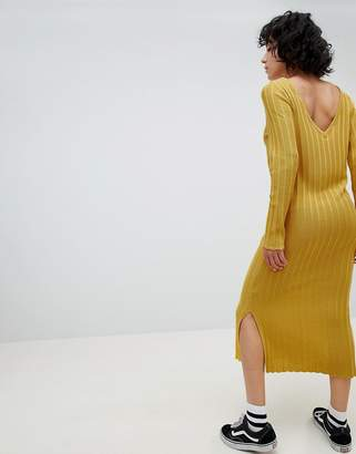 Asos Design Knitted Midi Dress In Wide Rib With V Back