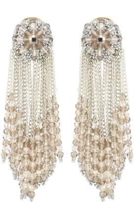 Oscar de la Renta Glass crystal drop clip-on earrings