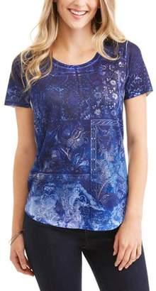 Tru Self Women's Short Sleeve Scoopneck Allover Print Tunic