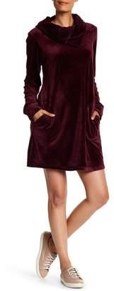 Max Studio Velour Cowl Neck Sweatshirt Dress