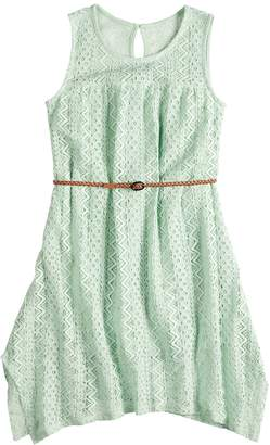 Mudd Girls 7-16 Lace Handkerchief-Hem Dress