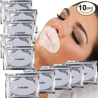 Fine Lines VAGA Beauty Anti Aging Treatments Set / Kit of 10pcs Lips / Mouth Milk White Collagen Gel Crystal Masks / Patches / Sheets for and Wrinkles Removal, Moisturizing / Hydration, Skin Firming and Nourishing