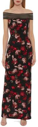 Gina Bacconi Womens Black Pavi Floral Scuba Maxi Dress - Black