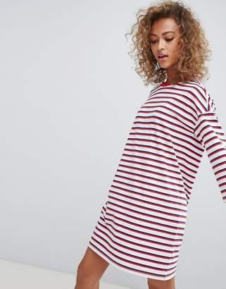 Monki crew neck t-shirt dress in multi stripe