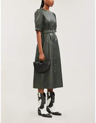 Gestuz Suri belted leather midi dress