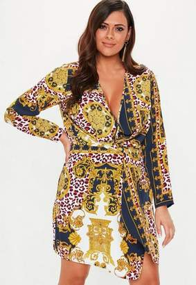 Missguided Plus Size Scarf Print Wrap Knot Front Dress