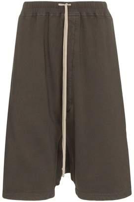 Rick Owens grey drop-crotch cropped cotton shorts