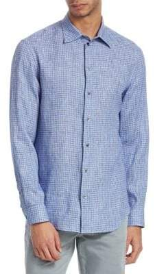 Emporio Armani Checkered-Print Button-Down Shirt