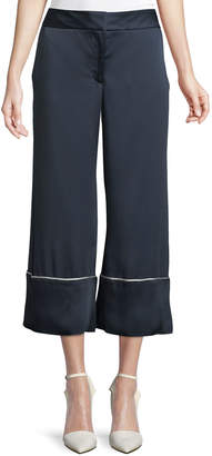 Monse Wide-Leg Satin Ankle Pajama Pants with Piping