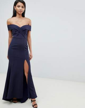 Jarlo Pleated Off Shoulder Bardot Maxi Dress In Navy
