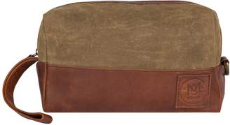 Dopp MAHI Leather - Canvas and Leather Classic Wash Bag in Forest Green and Brown