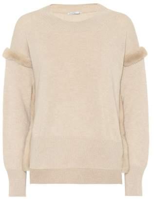 Agnona Fur-trimmed cashmere sweater