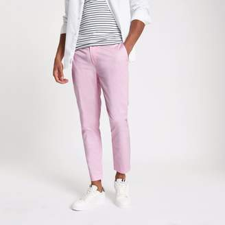 River Island Mens Pink cropped skinny chino trousers