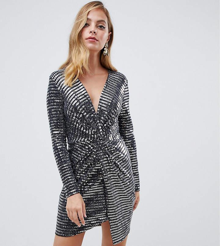 Flounce London Petite twist front mini dress in silver sequin