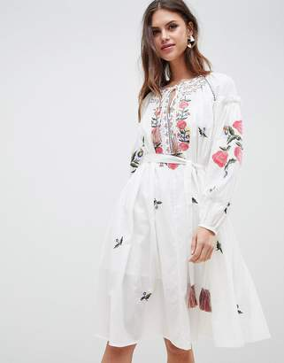 French Connection Embroidered Smock Dress
