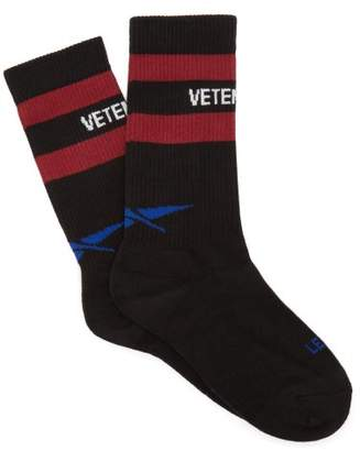 Vetements X Reebok Logo Striped Cotton Blend Socks - Womens - Black