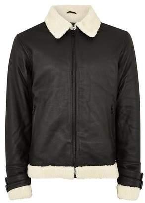 Topman Mens Black Leather Flight Jacket