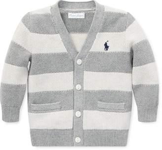 Ralph Lauren Striped Cotton V-Neck Cardigan