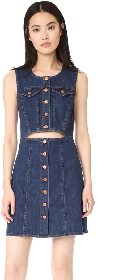 Madewell Denim Button Front Cutout Dress