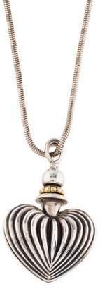 Lagos Caviar Fluted Heart Perfume Bottle Pendant Necklace