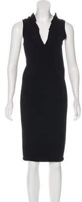 Valentino Ruffle-Trimmed Bodycon Dress