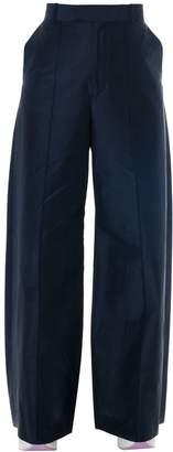 Celine Blue Linen-cotton Blend Palazzo Trousers