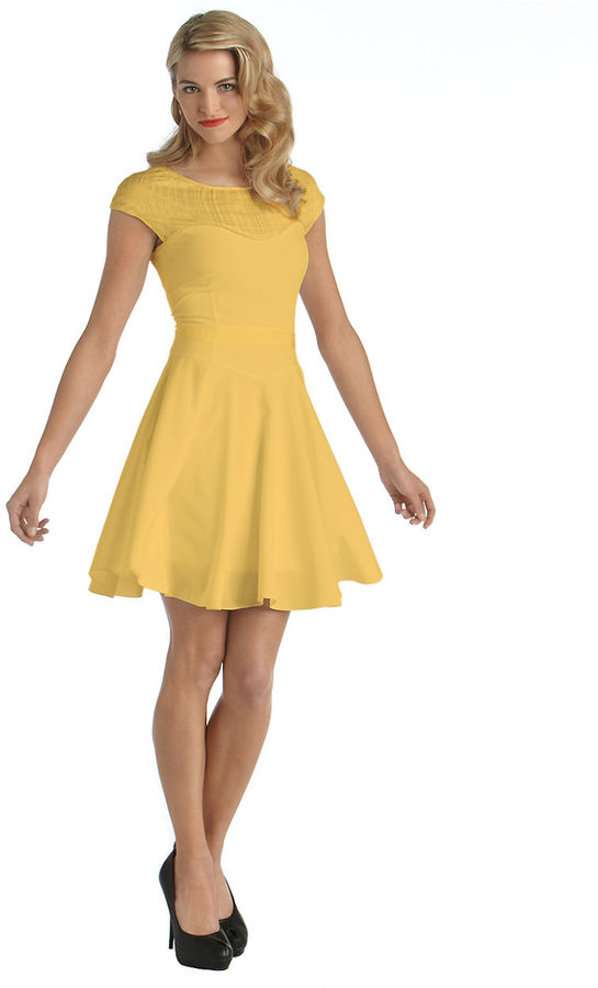 Z Spoke Zac Posen Cap-Sleeved Fit-And-Flare Dress