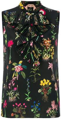 No.21 floral print sleeveless blouse