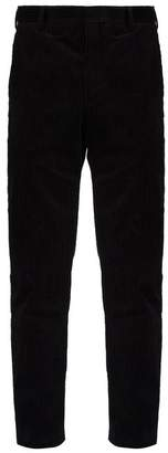 Saint Laurent Slim Fit Cotton Corduroy Trousers - Mens - Black