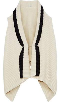 Ann Demeulemeester Draped Two-Tone Alpaca-Blend Cardigan